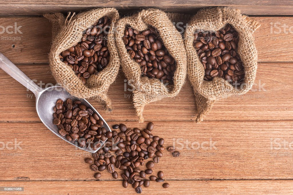 Various types of Coffee Beans stock photo