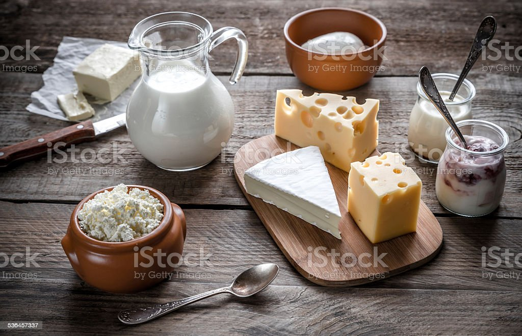 Various types of dairy products stock photo