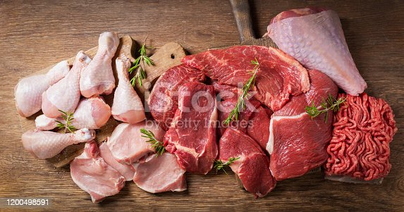 various types of fresh meat: pork, beef, turkey and chicken on a wooden table, top view