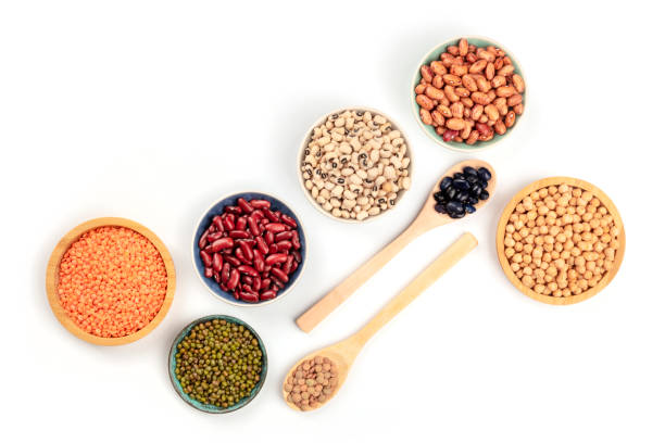various types of legumes, shot from the top on a white background with a place for text. red kidney, pinto, and black beans, lentils, chickpeas, soybeans, black-eyed peas - fasola pinto zdjęcia i obrazy z banku zdjęć