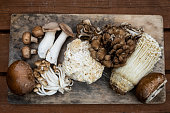Several varieties of Fungi or Mushrooms freshly picked and laid out on a wooden board.