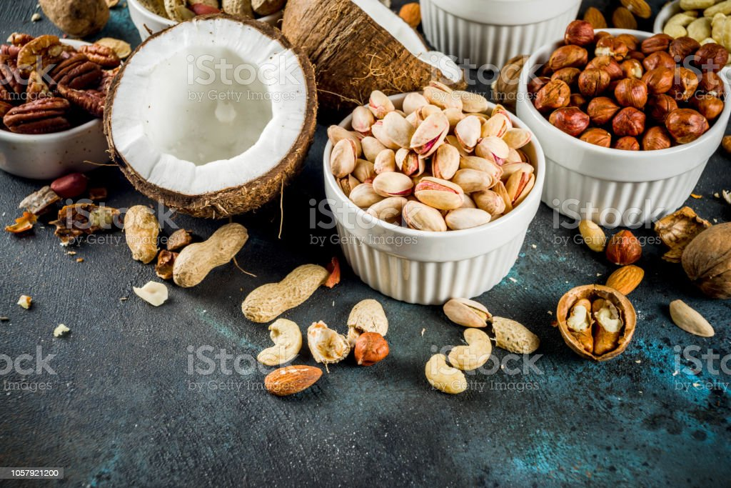 Various Types Of Nuts Stock Photo - Download Image Now