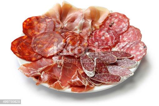 fuet galidad, jamon serrano, chorizo, salchichon and jamon iberico