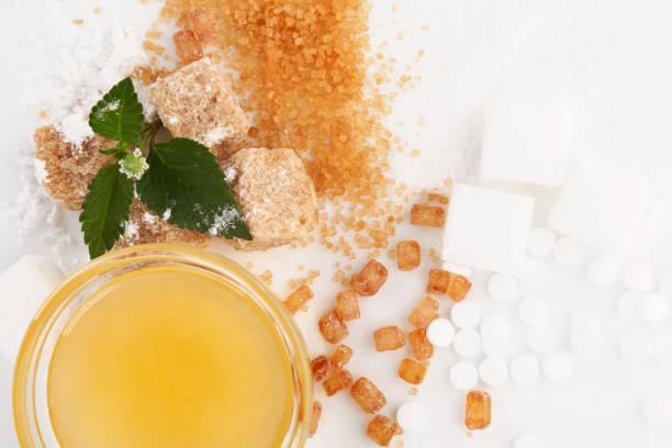 various types of sugar concept - sweeteners stock photos and pictures