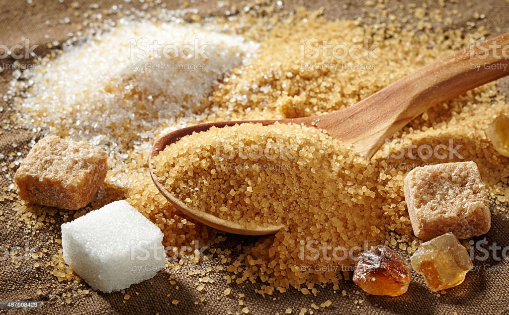 various types of sugar stock photo