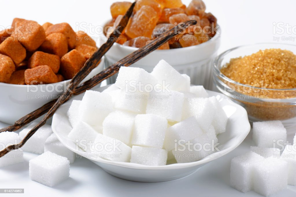 Various types of sugar stock photo