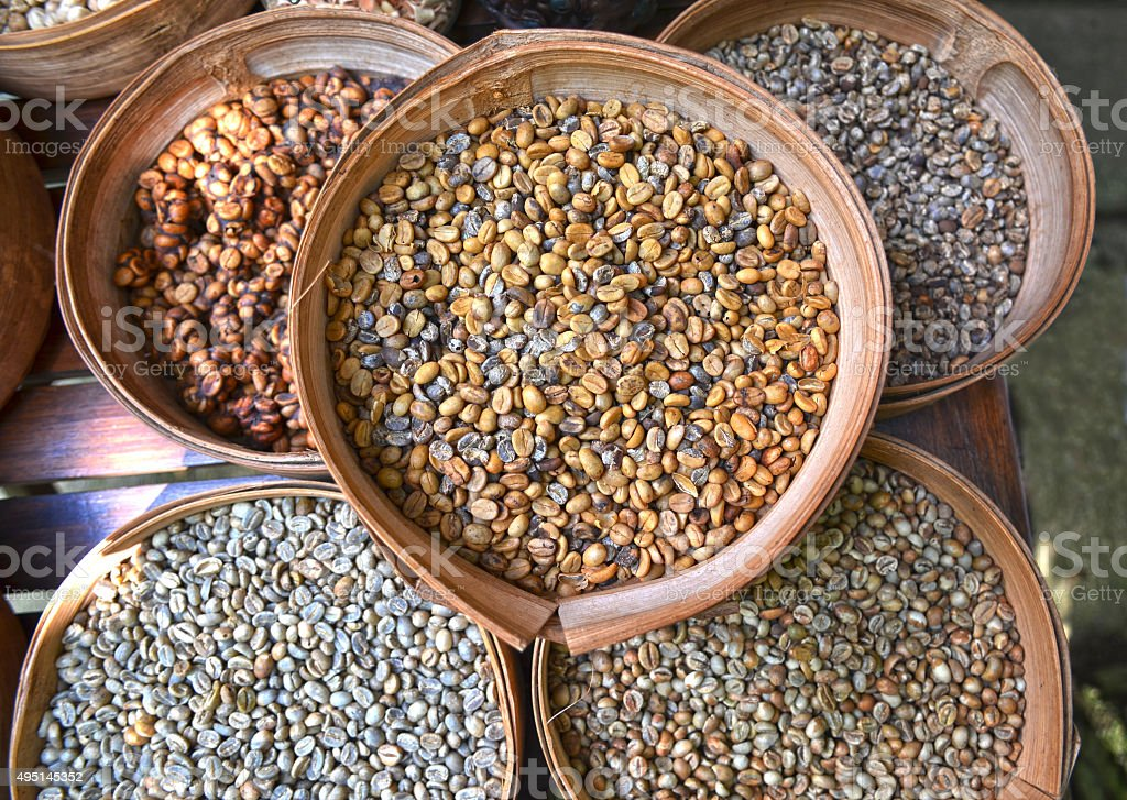 Various unroasted coffee beans stock photo