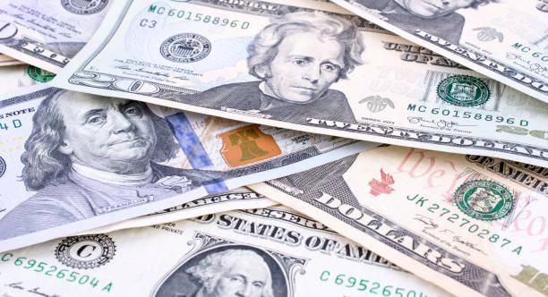 Various US dollar banknote stock photo