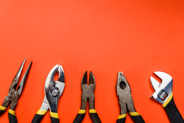 Various Used Pliers Tools stock photo