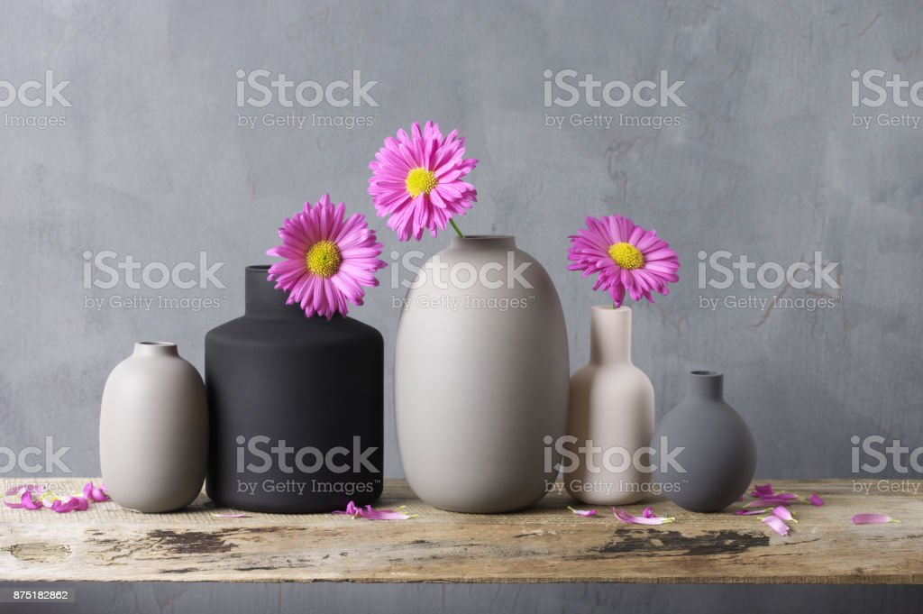 Various Vases With Flowers On Wooden Shelf Stock Photo More