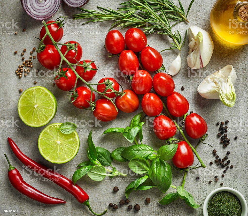 various vegetables, herbs and spices stock photo