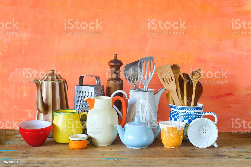 various vintage kitchen utensils, stock photo