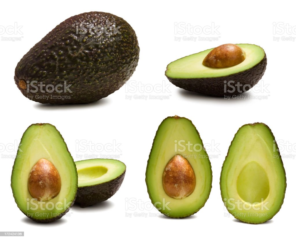 Various ways to look at an avocado stock photo