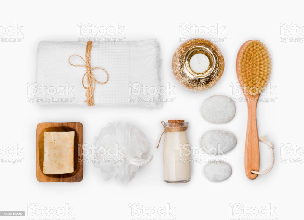 Various wellness and spa threatment products isolated on white background stock photo