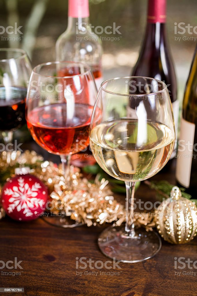 Various wine selections, glasses for Christmas holiday party. stock photo