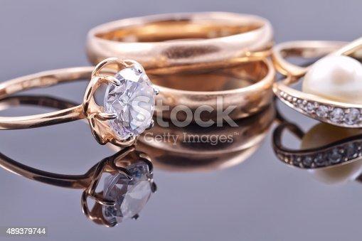istock Various women's gold rings 489379744