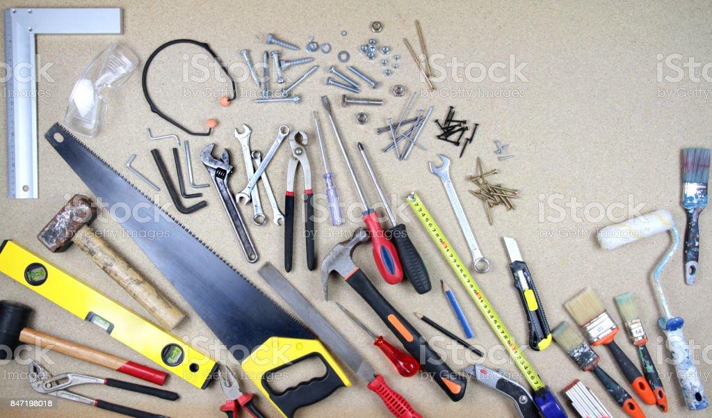 Various work tools stock photo