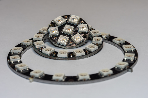 Various Ws2812 Rgb Addressable Led Rings Stock Photo - Download Image Now