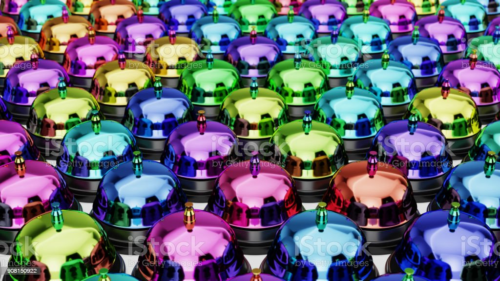 Variously Colored Reception Bells in a Tight Even Grid on a Simple Concrete Surface stock photo