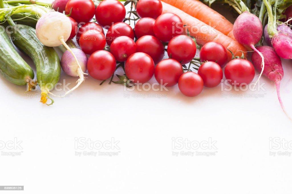 Varity Of Vegetables Frame On White Background Stock Photo & More ...
