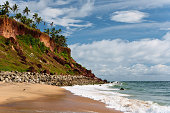 Varkala is the only place in southern Kerala where cliffs are found adjacent to the Arabian Sea. These tertiary sedimentary  formation cliffs are a unique geological feature on the otherwise flat Kerala coast, and is known among geologists as Varkala  Formation and a geological monument as declared by the Geological Survey of India. There are numerous water spouts and spas  on the sides of these cliffs.