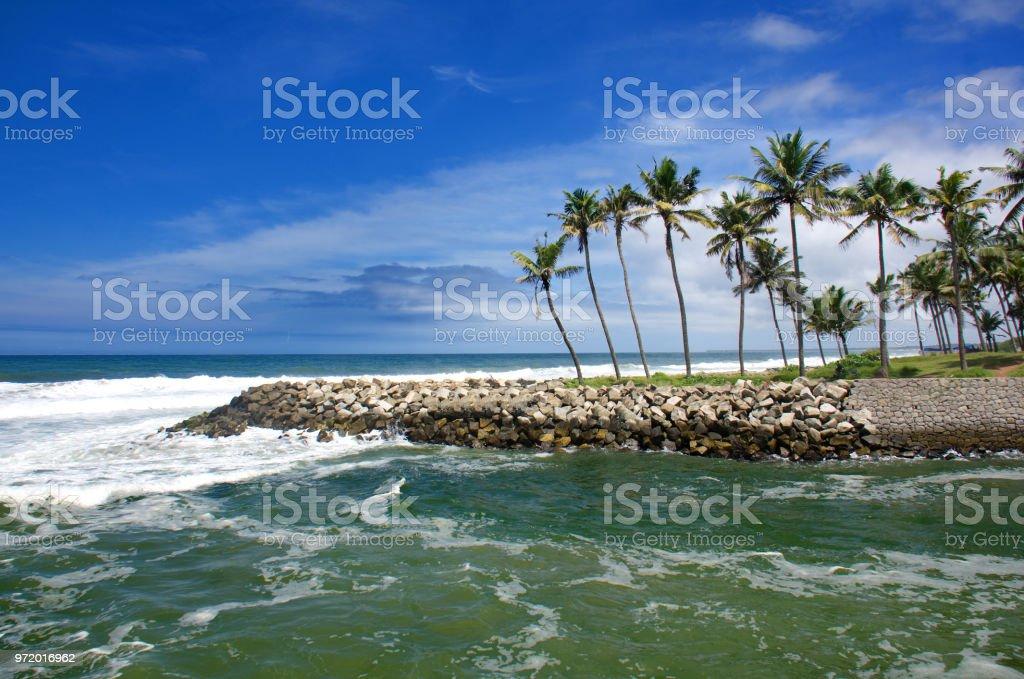 varkala paravur kappil beach stock photo
