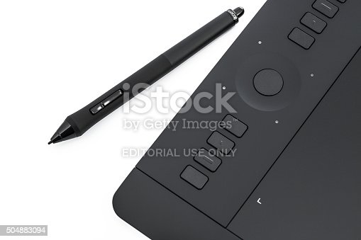 Varna, Bulgaria - January 10, 2016 Wacom Intuos pro graphic tablet with pen and holder. Intuos is a product of Wacom a Japanese company specialized in graphics tablets and related products