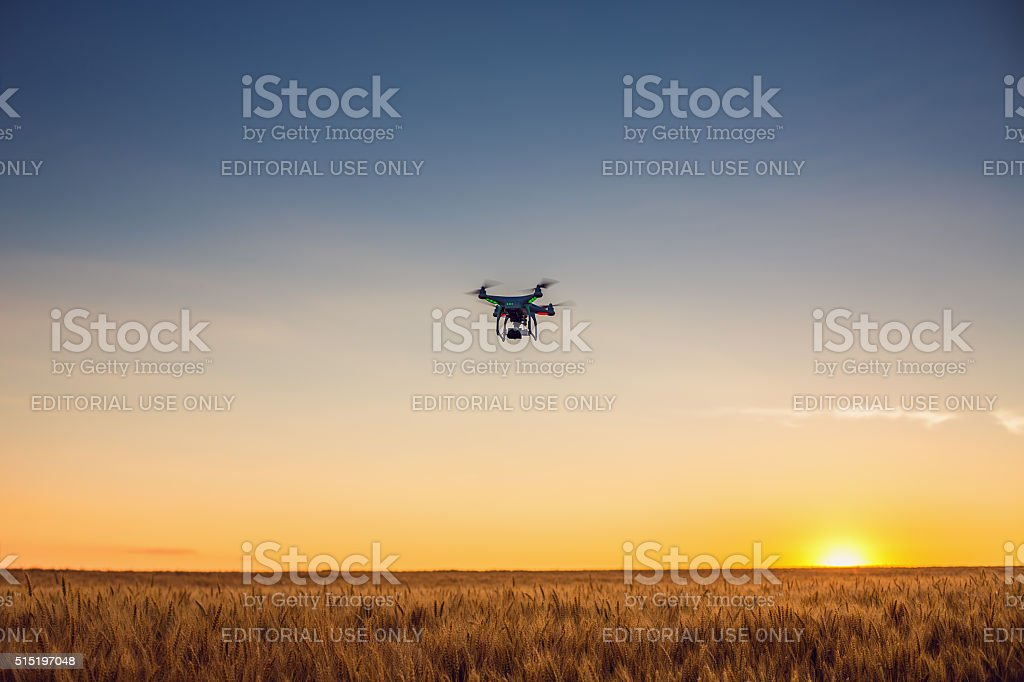 Varna, Bulgaria - June 23 ,2015: Flying drone quadcopter Phantom stock photo