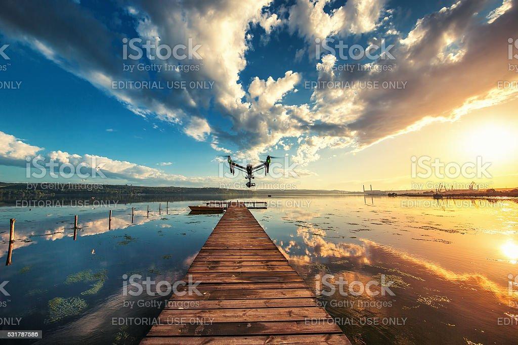 Varna, Bulgaria - May 13 ,2016: DJI Inspire drone, sunset stock photo