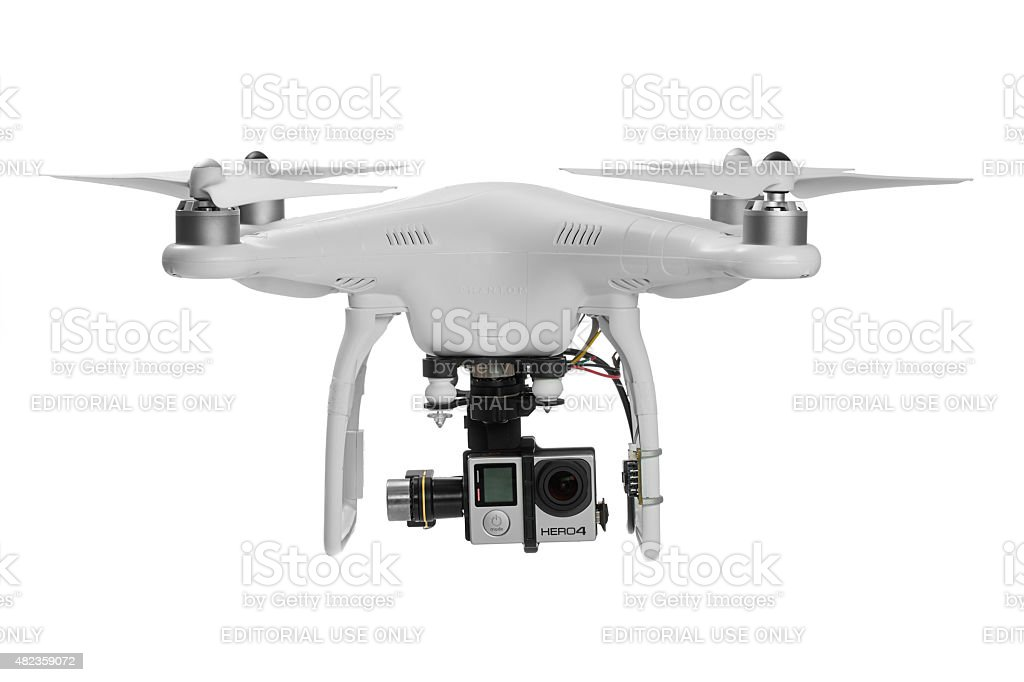 Varna, Bulgaria - May 28 ,2015: Flying drone quadcopter stock photo