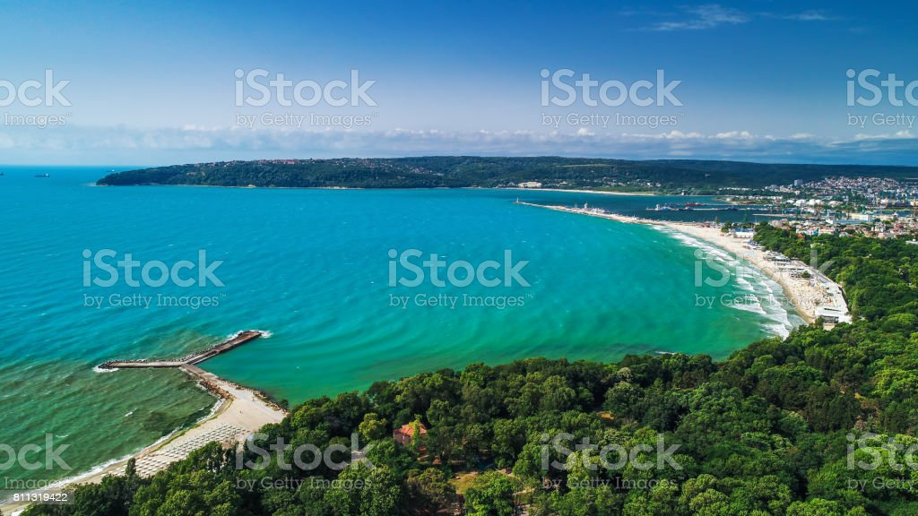 Varna, Bulgaria summer time, beautiful aerial view above sea garden. stock photo