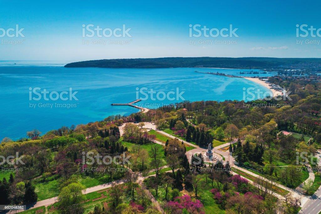 Varna Frühjahr schöne Luftbild oben Meeresgarten – Foto