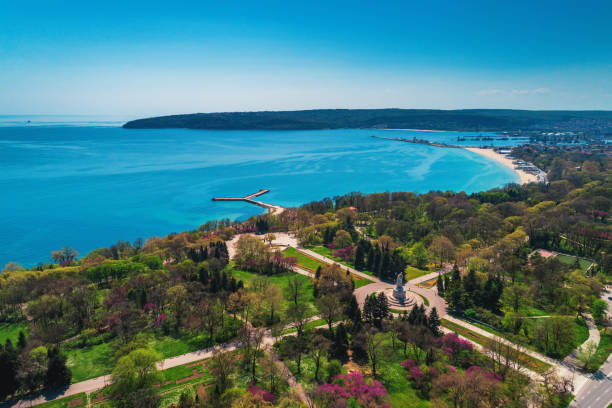 Varna spring time, beautiful aerial view above sea garden Varna spring time, beautiful aerial view above sea garden. bulgaria stock pictures, royalty-free photos & images