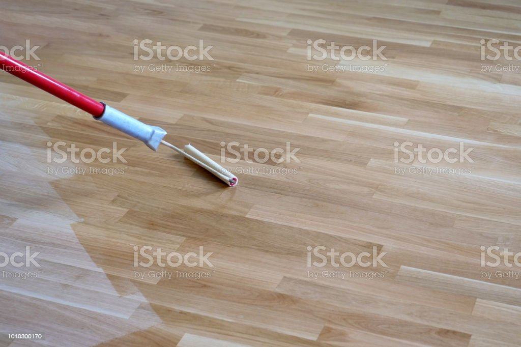 Varnishing Lacquering Parquet Floor stock photo