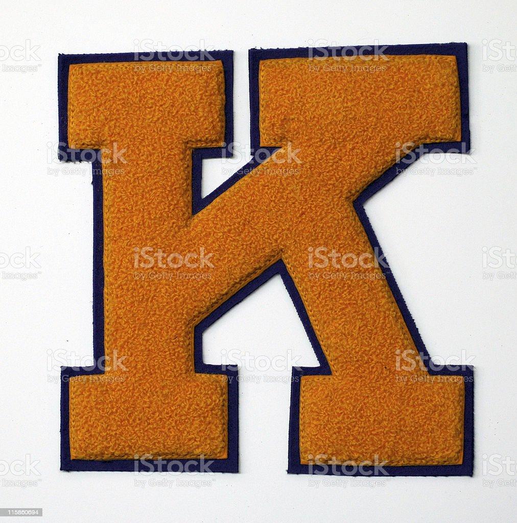 varsity letter K stock photo