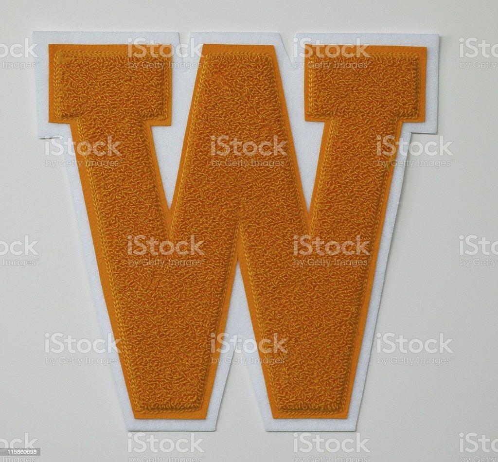 varsity letter W stock photo