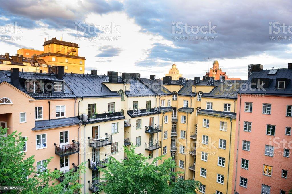 Vasastan Stockholm, typisch schwedische Stadtgebäude – Foto