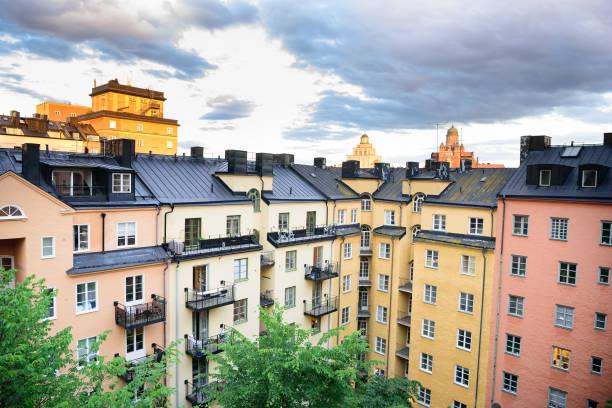 Vasastan Stockholm, typisk svensk stad byggnader bildbanksfoto