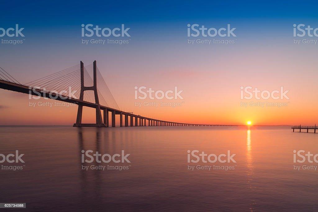 Vasco Da Gama Bridge in Lisboa, Portugal stock photo
