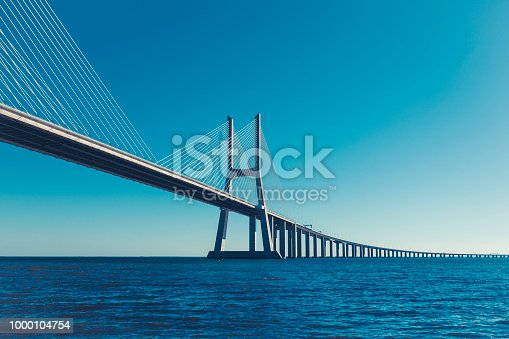 vasco da gama contemporary architecture cable-stayed bridge in lisbon, portugal.