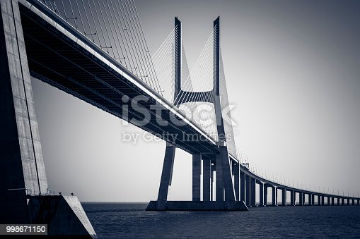 vasco da gama contemporary architecture cable-stayed bridge in lisbon, portugal.