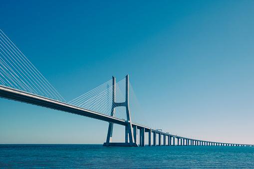 vasco da gama contemporary cable-stayed bridge in lisbon, portugal, europe.