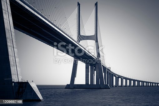 famous vasco da gama bridge in lisboa, portugal.