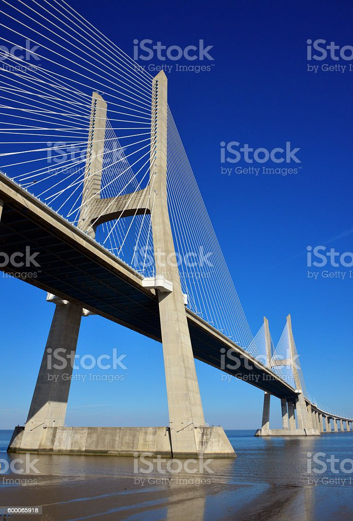 Vasco da Gama bridge pillars, Lisbon, Portugal stock photo