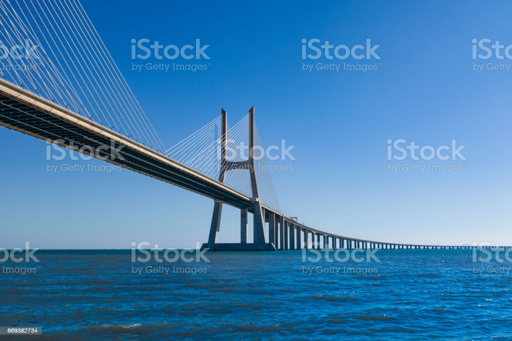 vasco da Gama contemporary cable-stayed bridge, lisbon, portugal stock photo