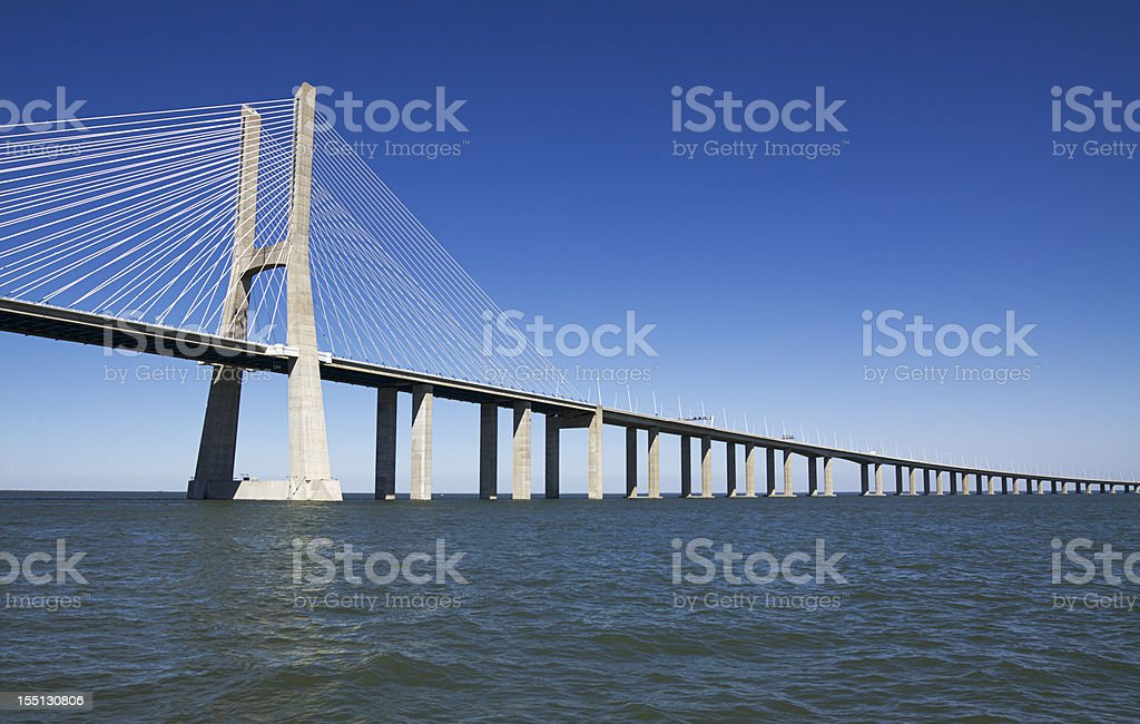 Vasco da Gama contemporary cable-stayed bridge royalty-free stock photo