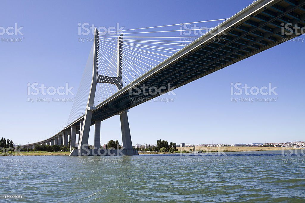 Vasco da Gama contemporary cable-stayed bridge stock photo