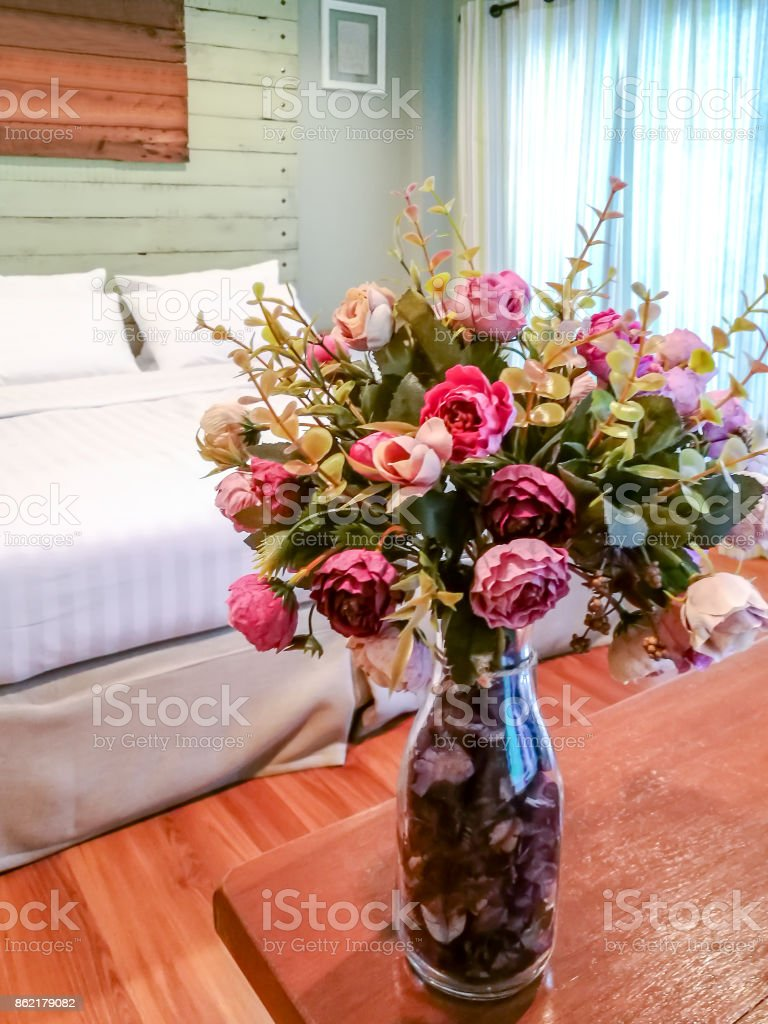 Vase Of Artificial Flower Decoration On Wooden Table In Modern Rustic Stock Images Page Everypixel