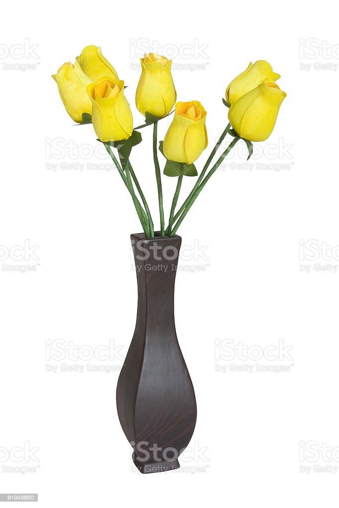 Vase of Yellow Roses Isolated on White royalty-free stock photo