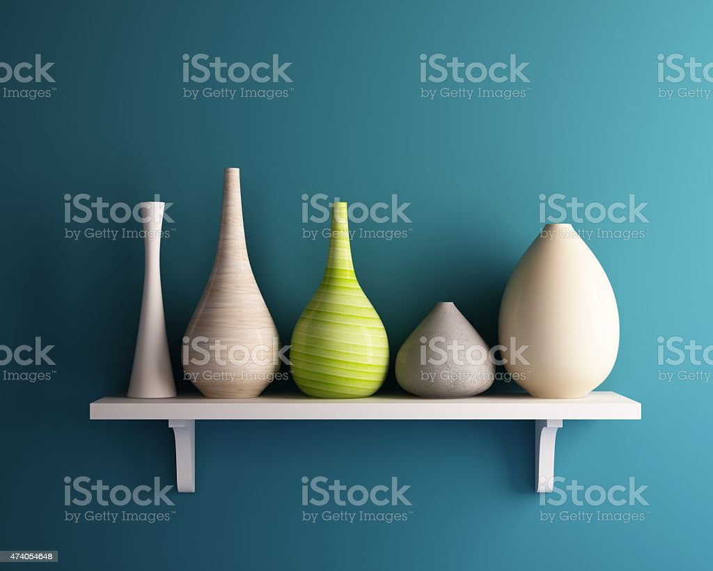vase on white shelf with blue wall vase on white shelf with blue wall 2015 Stock Photo